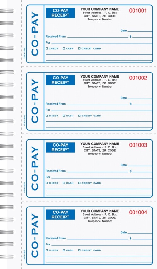 2 part co pay medical receipt book carbonless 6 18 x 11