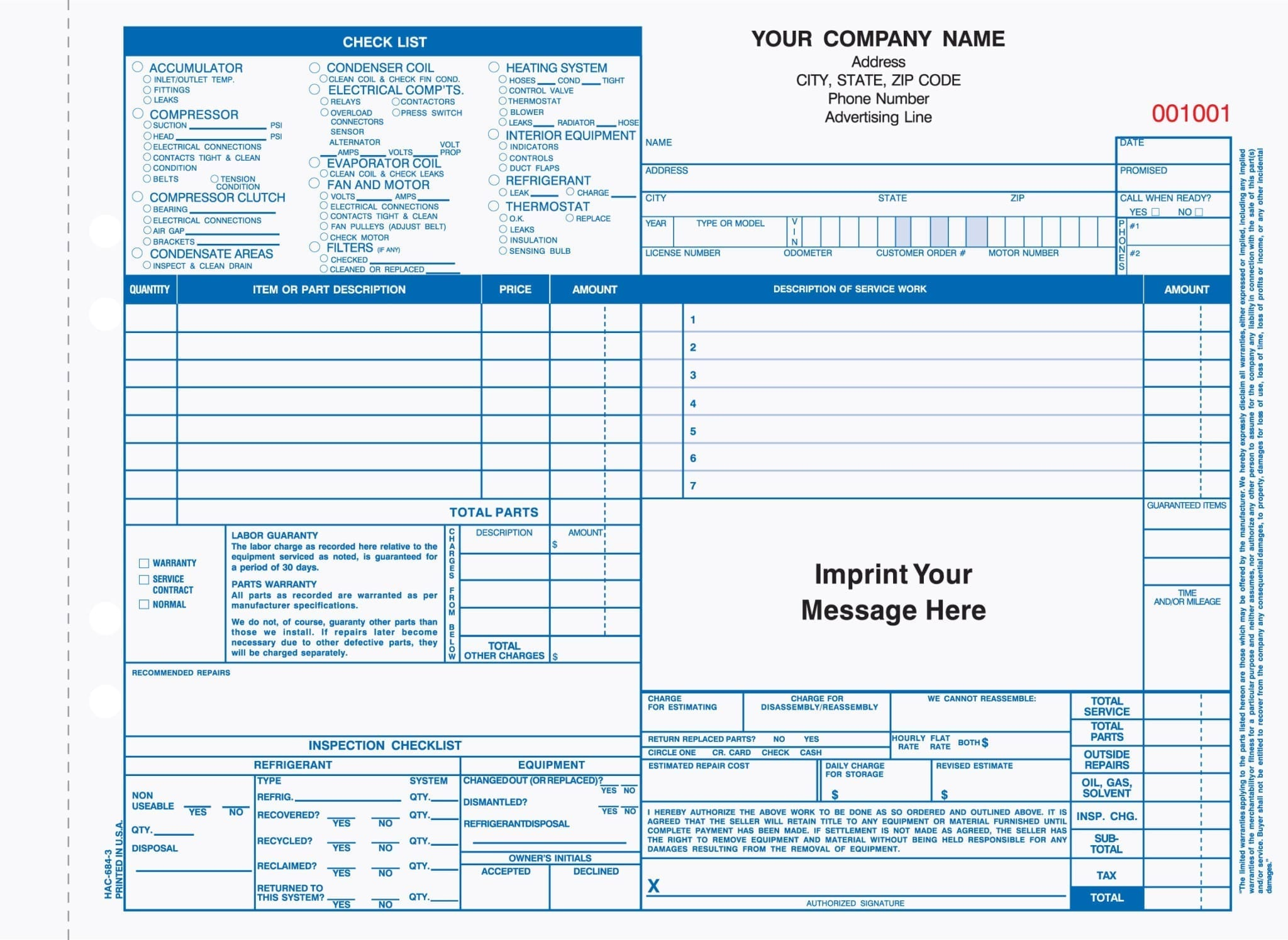 66b60ef7489 Home SHOP Business Products HVAC 3-Part Auto Heating   Air Conditioning  Work Order Invoice. HAC-684