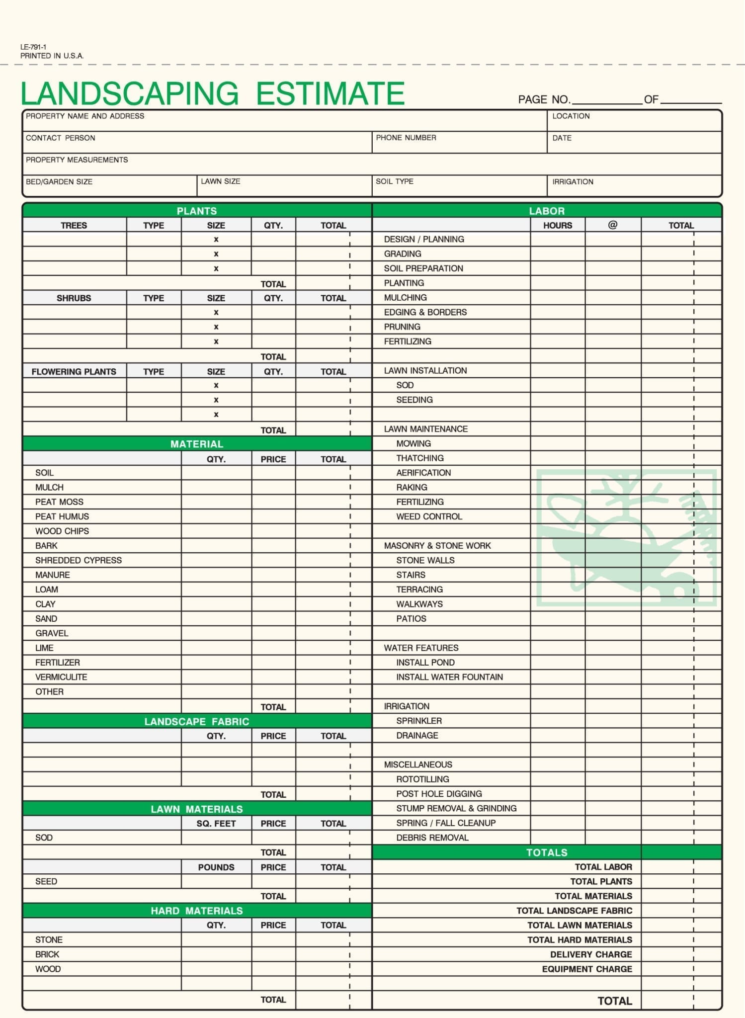 1 part landscaping landscaping estimate forms free shipping