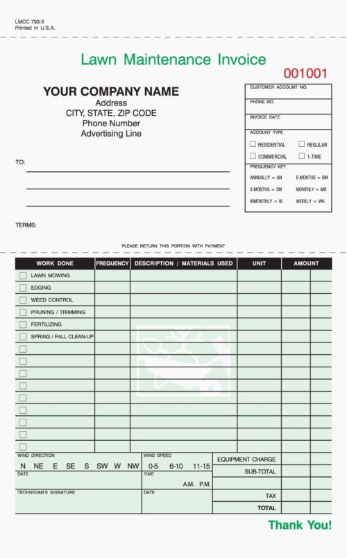 Part Landscaping Work Order Invoice Free Shipping