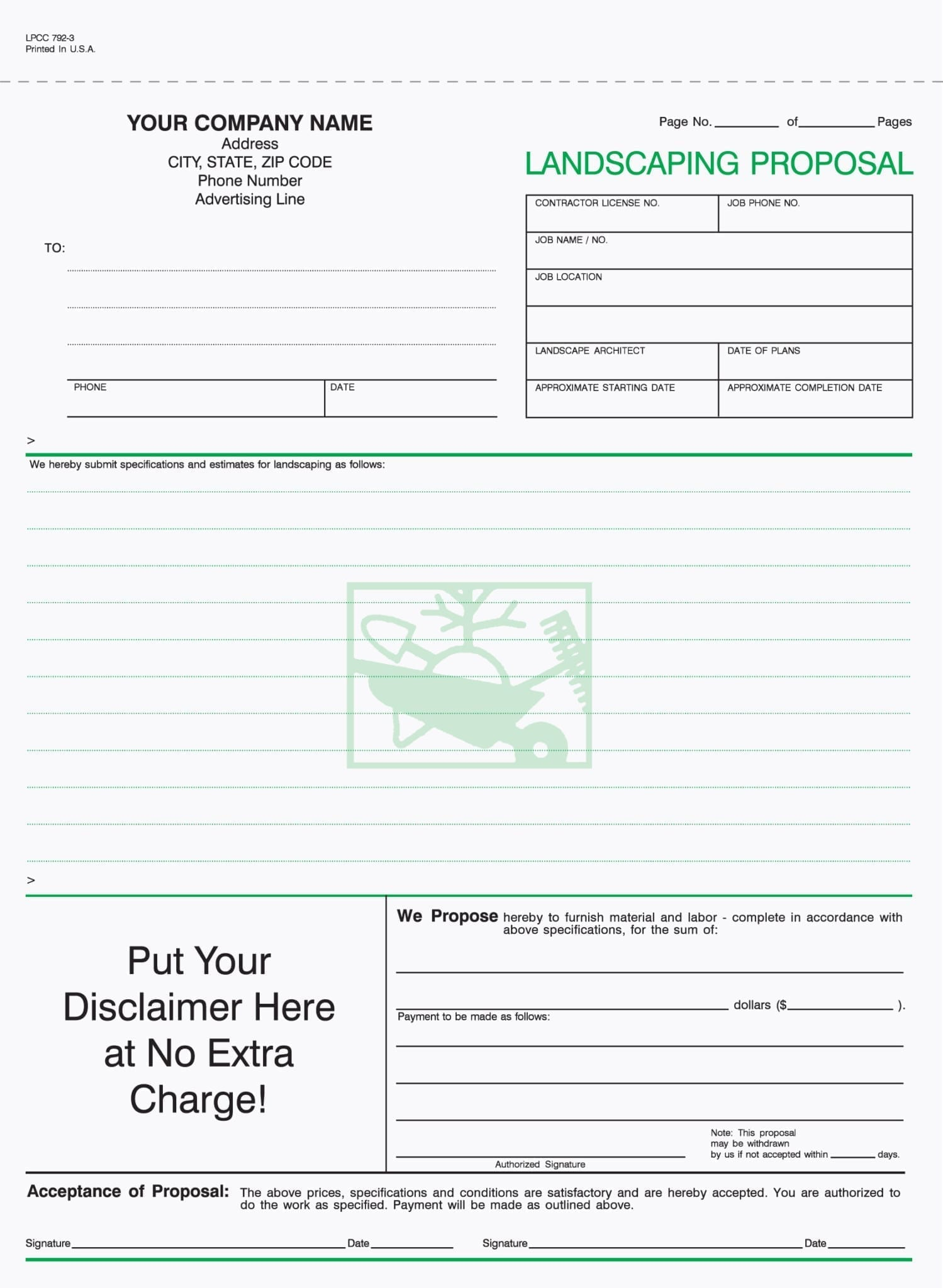 3 Part Lawn Care Proposal Forms With Disclaimer Imprint
