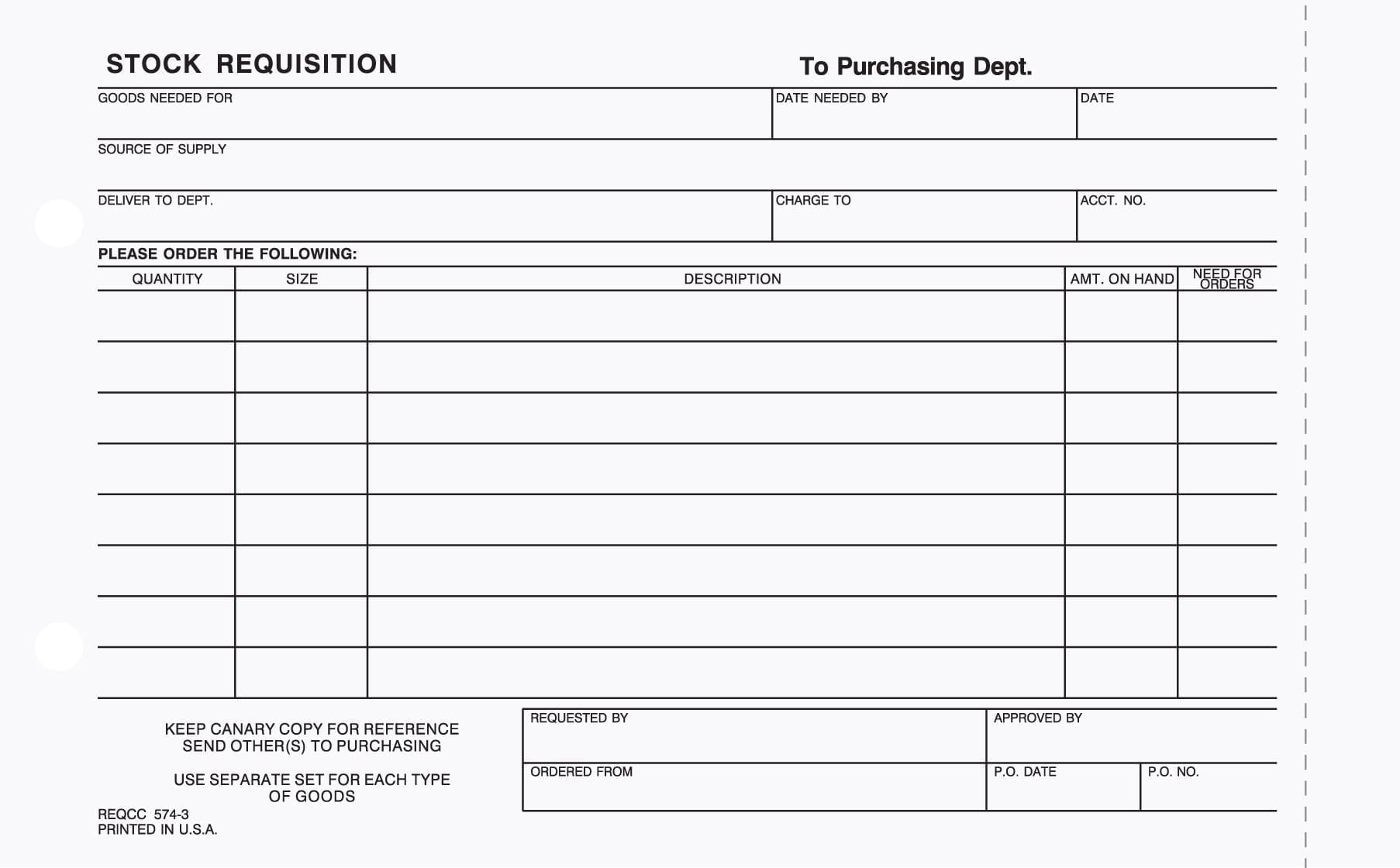 3 part stock requisition form carbonless for Stock request form template
