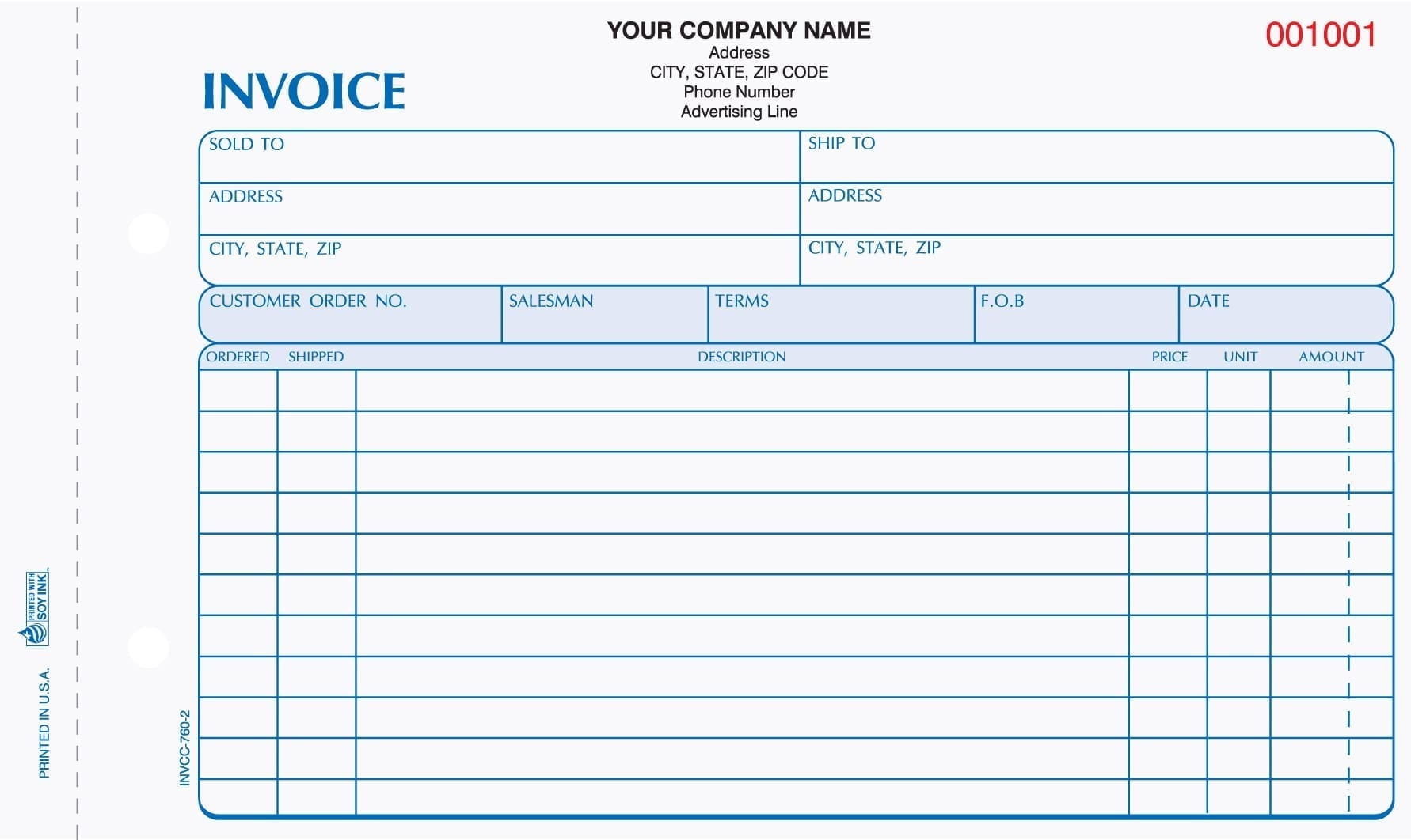 Part Carbonless Invoices In X In - Carbonless invoices